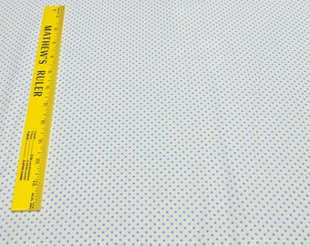Aunt Grace-Blue Polka Dots on Cream Cotton Fabric by Judie Rothermel for Marcus Fabrics