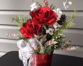 Christmas Flower Arrangement, Red Rose Arrangement, Winter Floral Arrangement, Floral Arrangement, Medium Red Rose Floral Arrangement