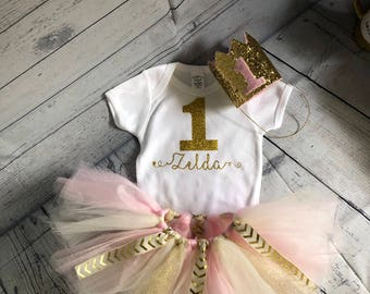 1st birthday outfit Outfit Pink Tutu Birthday Outfit 1st Birthday Outfits Pink and Gold baby girl tutu baby girl 1st birthday outfit