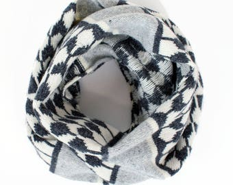 Cashmere knitted cowl - luxury pattern snood - raindrop fairisle pattern - wool cashmere cowl - grey charcoal ivory - machine knitted