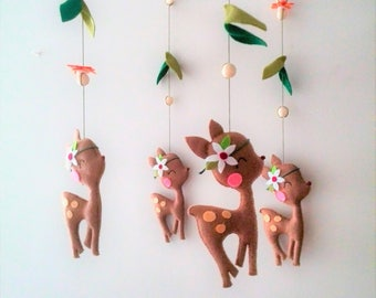 Woodland Animals Fawn Mobile Hanging Nursery Mobile Girl Baby Mobile / Bébé  Baby Mobile Girl, Woodland Crib Mobile, Baby Mobile Felt - Deer