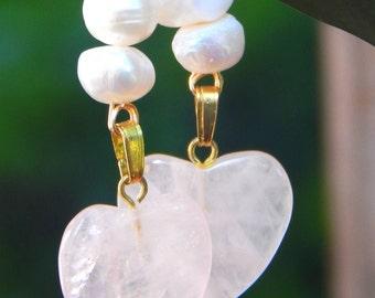 White Pearl and Rose Quartz Heart Gold Earrings