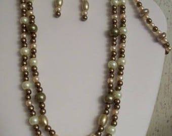 3 pc. Light Brown and Cream Pearls Necklace Set,Multi-Strand,Jewelry Sets,Necklaces,Earrings,Bracelets,Gift Ideas,Gifts for Her,Birthdays