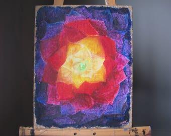 Rainbow Lotus Flower Acrylic Painting