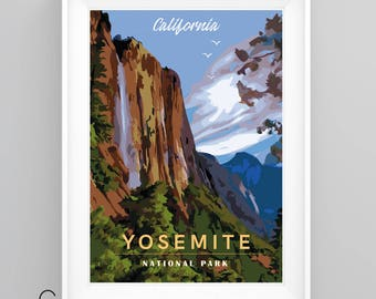 YOSEMITE National Park, CALIFORNIA Vintage Travel Poster, A4/A3 Print, Custom Options.