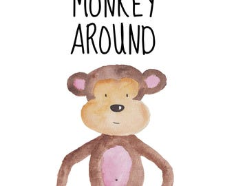 Monkey Around 8 x 10 nursery printable poster, downloadable, art decor