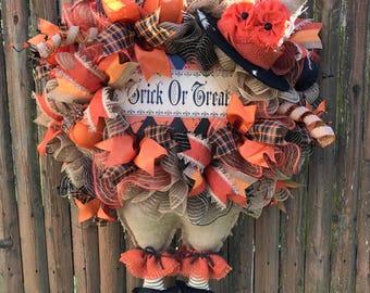 Halloween Wreaths, Primitive Burlap Witch Wreaths, Witch Wreath, Front Door Wreath, Holiday Wreaths, Home Decor, HomeStyle Wreaths, Wreaths