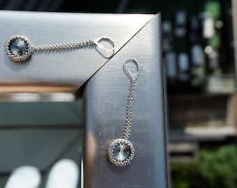 FREE SHIPPING Silver Earrings, Seed bead earrings, Gray earrings, Long earrings, Elegant earrings, Minimalist earrings Dangle earrings