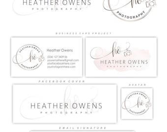Photography logo package, Initials logo design, Branding Kit, Camera logo, Watermark, Custom business package, Logo package, Watercolor 135