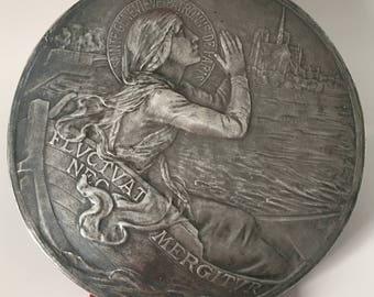 Saint Genevieve Patron Saint of Paris, Notre Dame, Solid Silver Vintage Rare Large French Plaque