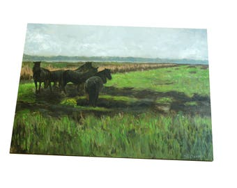 oil painting // landscape horses in a field // artistic work of art // hand-painted impressionism art