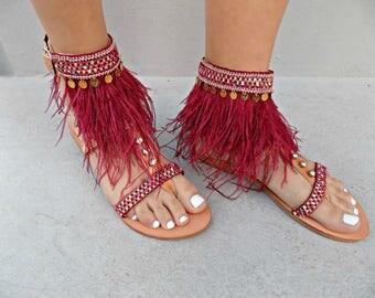 "Feather Sandals, Luxurious Sandals, Ostrich Feathers, Greek Leather Sandals, Ethnic Sandals, Handmade Sandals,"" Burgundy Red"" sandals"