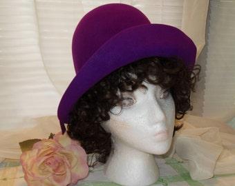 Purple Cloche Felt Hat Betmar Hat Free Shipping