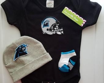 North Carolina Panthers baby outfit/carolina panthers baby/baby carolina/newborn panthers/nc panthers baby/panthers newborn/baby nc panthers