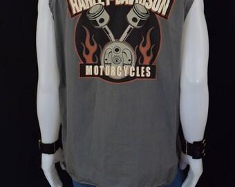 Vintage Genuine Harley Davidson Cut Off Sleeves Shirt - Harley Muscle Shirt - Harley Motorcycle Shirt - Size Large