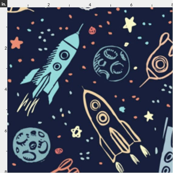 Space voyage jersey fabric by the yard astronaut galaxy for Space fabric by the yard