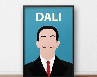Salvador Dali Poster Print // Wall Art, Dali Portrait, Retro, Colourful, Artist, Minimalist, Gift, Spain, Surrealist, Dorm Decor