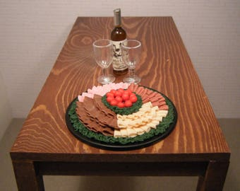 1:6 Scale Food - Party Tray Deli Meat - for Barbie Momoko, Blythe, Pullip, Fashion Royalty and other dolls - OOAK
