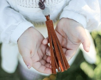 Girls chestnut suede leather tassel necklace with small wool felt pom
