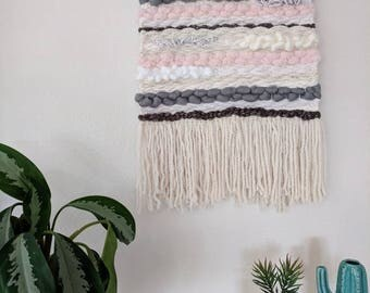 White, Grey & Pink Woven Wall Hanging | White, Pink and Grey Woven Tapestry | Cream, Grey and Pink Woven Wall Hanging