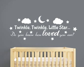Twinkle Twinkle Little Star Wall Decal Lullaby Lyrics Sticker Vinyl Lettering Quote Wall Art Decorations for Home Kids Room Nursery Decor 13