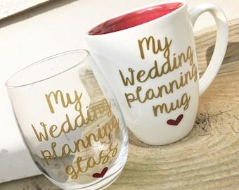 Wedding planning glass, engagement gift, engagement gifts for best friend, engagement gift for bride, engagement gifts for her, engagement