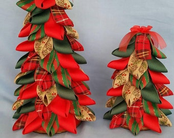 Ribbon Trees - Red, Green, Plaid and Brocade