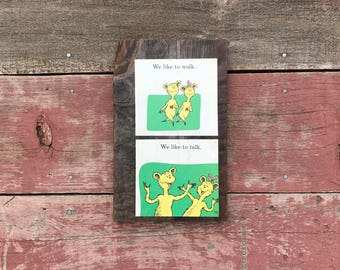 Dr. Seuss, We Like to Walk, We Like to Talk, ABC, 1963 Peace by Piece Reclaimed Wood Children's Book Illustration Wall Art