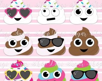 "Emoji ""Poop"" Digital Clip Art in PNG format - 9 Pieces - Instant Download"