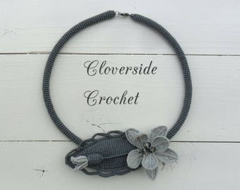 floral necklace,   statement necklace,  crochet necklace,  romantic style, bridal jewelry, statement jewelry