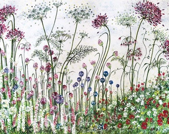 Red Agapanthus and Alliums Giclée Print