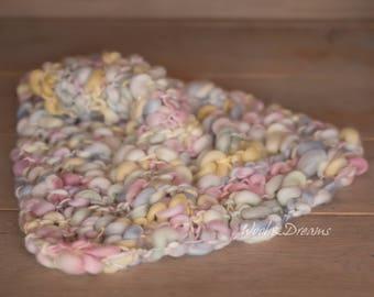 RTS Colorful Rainbow Handspun Blanket Newborn Photography Prop
