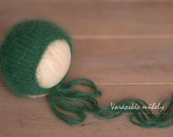 RTS Green French Angora Bear Bonnet Hat Newborn Size Photography Prop
