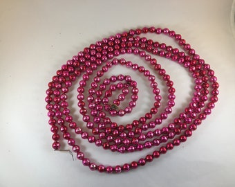 Hot Pink Vintage Christmas Tree Mercury Glass Beaded Garland Strand 7 Feet 6 Inches Long