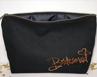 Bridesmaid Makeup bag - bridesmaid favors  -  cosmetic bag- zipper pouches - Birthday gift- makeup bag - Canvas bags