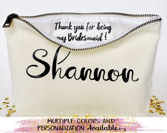 Personalized Bridesmaid makeup bag- Canvas cosmetic bag- bridesmaid gift- Wedding favors- Bridal gift - Zipper pouches - Weddings