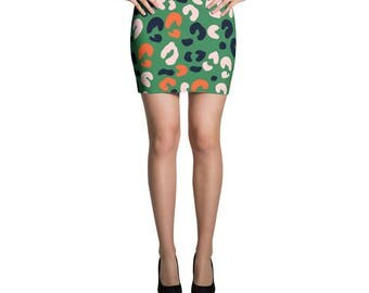 Leopard Skirt, Green Skirt, Jersey Skirt, Fitted Skirt, Bodycon Skirt, Pencil Skirt, Printed Skirt, Mini Skirt, Comfy Beach Skirt, Vacation