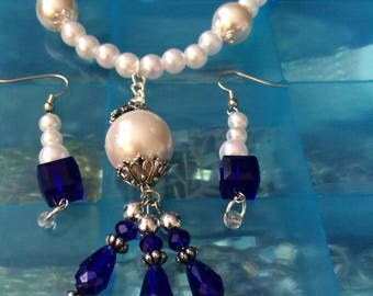 Pearl And Blue Crystal Necklace And Earring Set