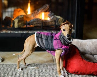 Italian Greyhound Jacket, Coat, size MEDIUM Purple Plaid, Fleece Dog Sweater, Dog Clothing, Dog Coat, Basenji Clothes, Dog Apparel
