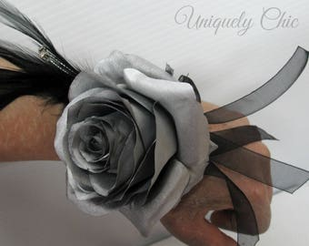 Silver rose wrist corsage, Wedding corsage, Silver and black prom corsage