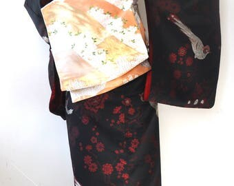 Silk fukuro obi/kimono belt/obi belt/silver gold floral obi/obi sash/kimono sash/embroidery obi/kimono fabric/vintage obi/table bed runner