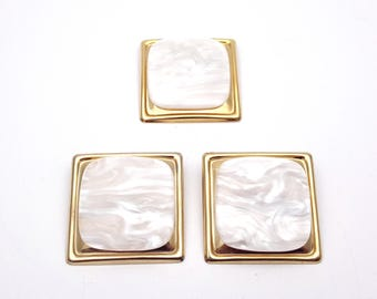 Vintage Set of Clip on Earrings & Brooch 80s Gold Tone Metal White Plastic Square New Wave Industrial Modernist Modern Retro Fashion Runway