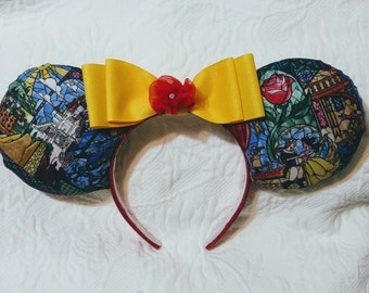 Beauty & the Beast Stained Glass Mickey Ears