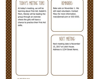 Instant Download! Scout Meeting Flyer in Brown - Editable Printable PDF
