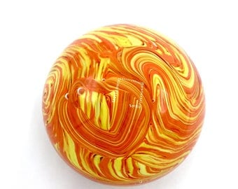 Fireball or Fire-tone Swirling Art glass Orb or Flaming Glass Paperweight Swirl