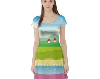 Jungle Dress - Katamari Short Sleeve Dress Katamari Cousins Dress Cosplay Dress Katamari Damacy Plus Size Dress Video Game Dress Ichigo Dipp