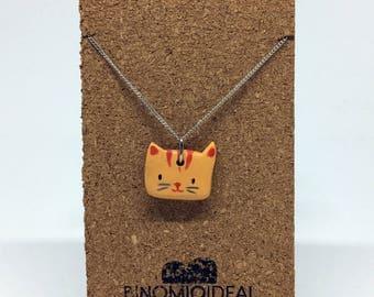 Hand - made Orange Cat necklace Handmade orange cat necklace