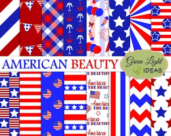 4th Of July Digital Papers, 4th Of July Background, Independence Day USA Papers, Patriotic Patterns Commerical Use, 4th July Scrapbook Paper