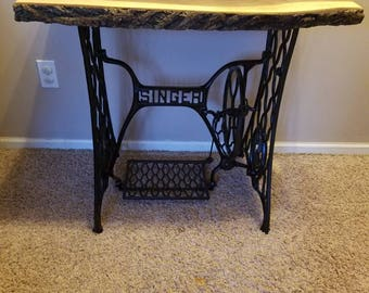 Repurposed Singer Sewing Table Base With Natural Live Edge Walnut Top,  Entryway, Accent Table