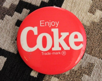 Vintage Coke Cocacola Pinback Button - Red and White